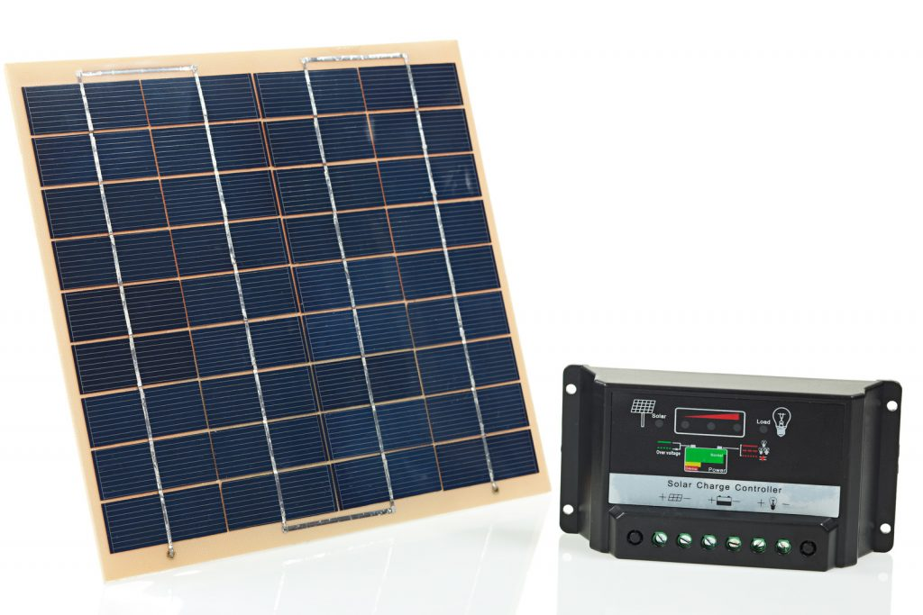 5W solar panel and charge controller.
